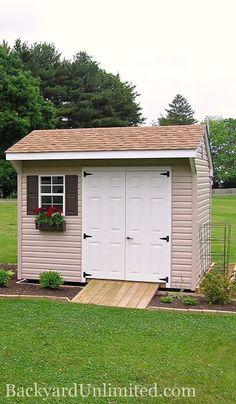 6x10 quaker storage shed with vinyl siding flower box gable vent