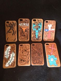 Custom hand tooled leather iPhone cases. | CDK Leather | Fort Worth, Texas | Facebook.com/cdkleather