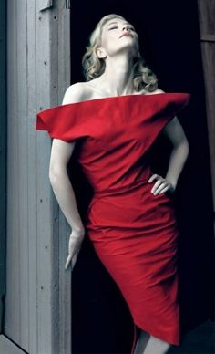 Cate Blanchett, photographed by Annie Leibovitz, the contrast between her white skin and the red, mmm