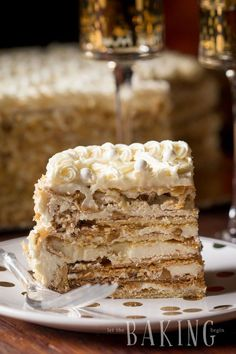 Markiza Cake Recipe (Marquise Cake) - Shortbread cake layers topped with crunchy meringue and walnuts, then sandwiched with Russian Buttercream : Let the Baking Begin! Köstliche Desserts, Delicious Desserts, Dessert Recipes, Health Desserts, Plated Desserts, Appetizer Recipes, Food Cakes, Cupcake Cakes, Baking Recipes