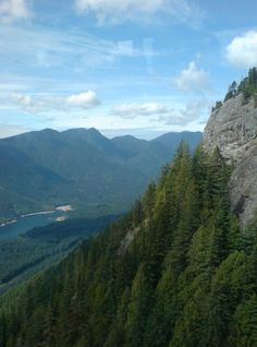 Grouse Mountain Skyride. Vancouver, B.C. Looking down at the Capilano Resevoir.