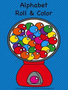 Alphabet Roll & Color -- Bubble Gum Theme from K is for Kinderrific on TeachersNotebook.com -  (7 pages)