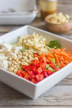 Healthy Chopped Chinese Chicken Salad With Sesame Peanut Dressing