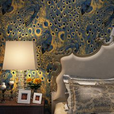 Beautiful peacock wallpaper enhances a bedroom - Inspiring Peacock Beauty for Your Home