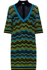 M Missoni Wool gauze-paneled striped stretch-knit dress