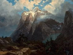 Albert Bierstadt (1830-1902), Mount Brewer from King's River Canyon, California (1872), oil on canvas, 119.4 x 91.4 cm. Via Wikimedia Commons.
