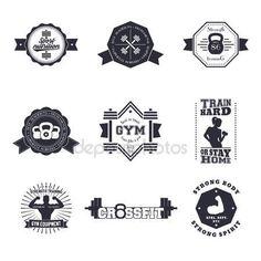 Descargar - Fitness, logotipos vintage gimnasio, emblemas, signos, divisa, etiquetas, con barras, pesas rusas, bíceps, Atleta — Ilustración de stock #82708828