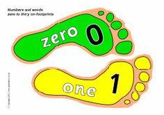 Numbers and words 0-30 on footprints (SB8622) - SparkleBox