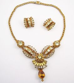 Vintage Amber Rhinestone Necklace Set by WearableArt on Etsy