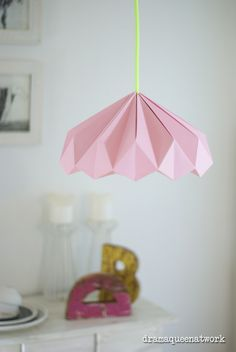 Biggest Furniture Store In The World Origami Lampshade, Paper Lampshade, Lampshades, Origami Paper, Diy Paper, Origami Lights, Plug In Pendant Light, Geometric Origami, Whatsapp Wallpaper