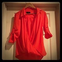 ✨Karen Kane Blouse✨ Orange red Karen Kane blouse.  XS. Brand new with tags. Karen Kane Tops Blouses
