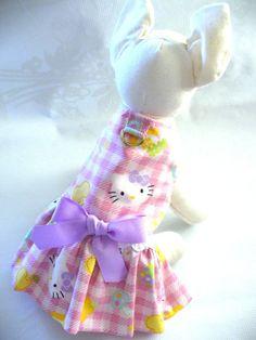 hello kitty dogs dress | Hello Kitty print DOG Harness dress Puppy Cat Ferret or small pet ...