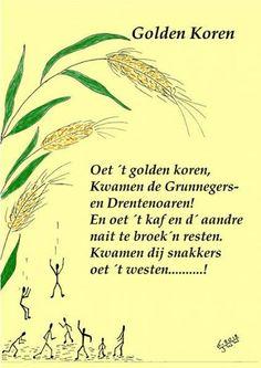 Oet t koren kamen Grunnegers en drentenoaren. The Old Days, My Heritage, Holland, The Neighbourhood, Humor, City, Dutch, Illustrations, Beautiful