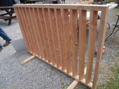 UK grown Douglas Fir louvre panel for garden screen.