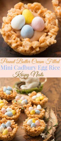 Peanut Butter Cream Filled Mini Cadbury Egg Rice Krispy Nests via @ohsweetbasil