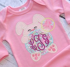 I2S Bunny Monogram Peeker Applique design