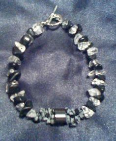 Black Jasper and Clear Quartz Bracelet with by BeadedAssortment How To Improve Relationship, Snowflake Obsidian, Quartz Stone, Clear Quartz, Craft Items, Stone Beads, Jasper, Buy And Sell, Bracelets