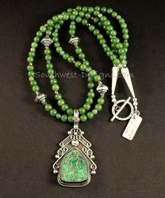Uvarovite Drusy and Sterling Silver Pendant with Jade, Moss Agate and Sterling