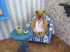 Noah Bear - kawaii, small bear,artist bear, miniature bear, vintage bear, dollhouse bear, tiny bear, art bear, teddy bear, Blythe
