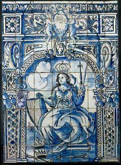 MELPÓMENE (1670-1675) – Painel de azulejos (1,30 x 0,93 m), fabrico de Lisboa, representando a Musa da Tragédia. Museu Nacional do Azulejo, Lisboa. EFEMÉRIDES DE NOVEMBRO http://dotempodaoutrasenhora.blogspot.pt/2013/10/efemerides-de-novembro.html
