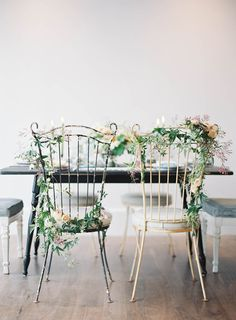 A vintage wedding inspiration board with a black color palette and darling details. (photo by Jen Huang) Wedding Chair Signs, Wedding Chairs, Deco Floral, Floral Design, Mod Wedding, Rustic Wedding, Deco Champetre, Bride Groom, Marie