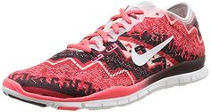 Nike Women's Wmns Free 5.0 TR Fit 4 PRT, LIGHT ASH GREY/IVORY-HYPER PUNCH-DEEP, 7 US Nike