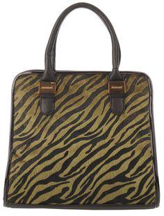 Monnari - torba zebra w kolorze oliwkowym | Torebki Zielone