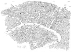 Gorgeous detailed Venice pictographic map, by James Gulliver Hancock