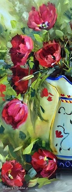 Detail from Heart Song Red Tulips by Nancy Medina, 20X16, oil…
