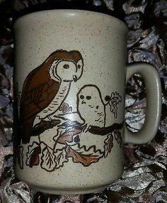 Ugly Creepy Owl Coffee Tall Stoneware Mug Brown Tree