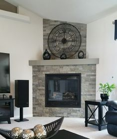 Hottest Images Fireplace Remodel airstone Popular – Rebel Without Applause Faux Fireplace, Living Room With Fireplace, My Living Room, Living Room Decor, Fireplace Ideas, Fireplaces, Faux Stone Walls, Fireplace Remodel, Condo Living