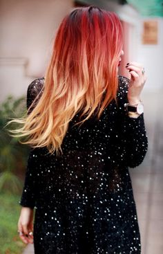 <3 red into blonde ombre! http://glossfashion.com/le-happy/
