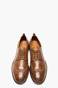 ALEXANDER MCQUEEN // Brown leather classic shortwing brogues