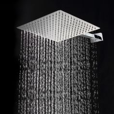 Buy * Square Stainless Steel Ultra-thin Showerheads 12 Inch Rainfall Shower Head Rain Shower at Mama - Thoughtful Shopping Cheap Shower Heads, Large Shower Heads, Huge Shower, Rain Shower, Shower Faucet, Shower Bathroom, Bathroom Designs Images, Rain Head, Toilet