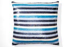 Rani Arabella sequined throw pillow. #navy