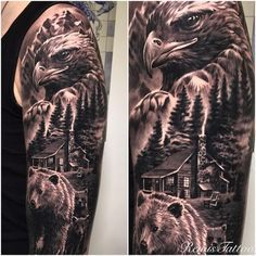 Eagle and Bear Tattoo by RemisTattoo - outdoor tattoo Bear Tattoos, Eagle Tattoos, Wolf Tattoos, Animal Tattoos, Ship Tattoos, Dragon Tattoos, Arrow Tattoos, Tattos, Animal Sleeve Tattoo