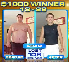 ":::September Winner::: Adam R. lost 108 lbs & won a thousand dollars in The Beachbody Challenge! ""At the ripe old age of 27, here i am struggling just to literally roll out of bed in the morning ...I ordered P90X, and started the day after it showed up, and man o' man was it ever extreme ...I'm proud to say that I and am in ""best shape of my life ...This has been a tough and extremely rewarding 6 months for me ..."""