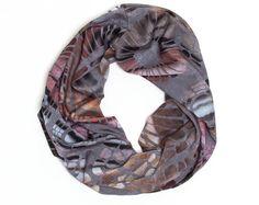 Digital Fabric Scarf, Loop Scarf, Agate, Infinity Cowl