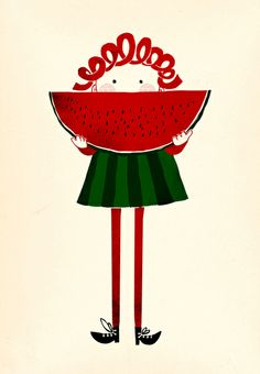 Cottage Charm ~ Red and Green ~ Watermelon ~ richters: Melone girl by Robert Farkas Yalda Night, Oil Canvas, Cute Illustration, Animal Drawings, Illustrations Posters, Cute Art, Art Girl, Character Design, Doodles