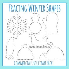 Tracing Winter Shapes for Fine Motor Control or to Cut Out Elephant Outline, Black And White Lines, Dotted Line, Marketing Materials, Fine Motor, Line Art, Winter Hats, Shapes, Teaching