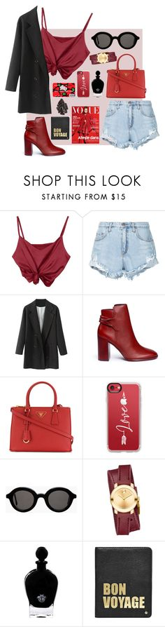 """Untitled #166"" by nglmfrryln ❤ liked on Polyvore featuring Nobody Denim, Mercedes Castillo, Prada, Casetify, Mykita, Movado, EB Florals, Hello Kitty and Hayden-Harnett"