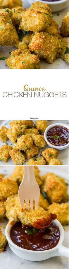 The kids will love 'em and you will too! The Skinny Ms. Quinoa Chicken Nuggets Recipe.