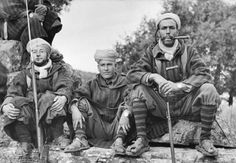 Moroccan Goumiers (auxiliary units attached to the French Army of Africa)  taking a break from training maneuvers. Morocco. 1943.