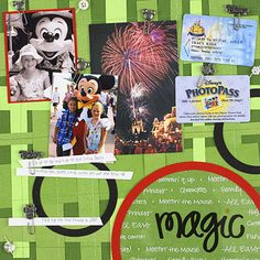 Design by Tracy Kyle Embellish a Disney vacation scrapbook page with tiny souvenirs and memorabilia. Decorative Disney character paper clips attach accents to Tracy's memo-board-style page. Editor's Tip: To create a memo board background, weave strips of cardstock, then clip photos and other mementos to the cardstock strips.  SOURCES: Font: Tiny Tadpole by Two Peas in a Bucket. Transparency: Creative Imaginations. Clips, circle cutter: EK Success.