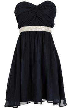 Twisted Chiffon Embellished Designer Dress in Navy  www.lilyboutique.com