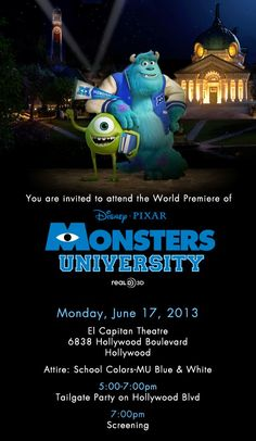 I am Headed to Monsters University #MonstersUPremiere