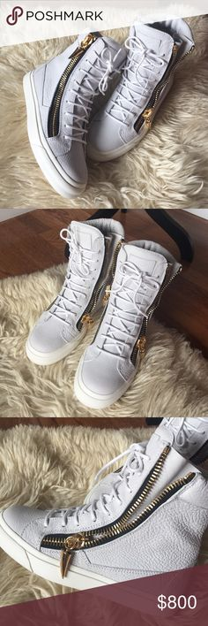 Giuseppe Zanotti shark tooth high tops 39 $1000 Brand new with box. No trades. Heavy duty sneakers. Size 39 euro. Womens.color off white. Giuseppe Zanotti Shoes Sneakers