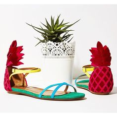Pina Coladas in hand pineapples on feet | #Shop the @aquazurra #sandals that make everyday #vacation through link in bio now #ShopItRIghtNow by modaoperandi