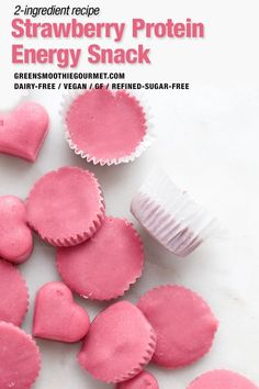 Beautiful pink frosty protein snack full of grab-and-eat nutrition including protein, fiber and a slew of other nutritional benefits, and sweet with fresh strawberries. Healthy Vegan Desserts, Healthy Summer Recipes, Vegan Dessert Recipes, Vegan Snacks, Vegan Treats, Winter Recipes, Vegan Food, Holiday Recipes, High Protein Snacks