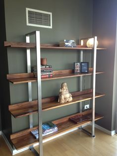 Walnut and stainless shelves